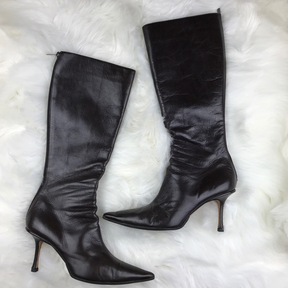 1cc58c530d0 Jimmy Choo Brown Leather Zip Knee Boots 10